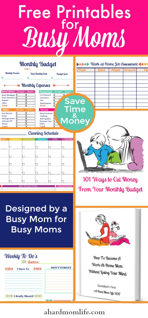 Are you a busy mom trying to save time and money? Get access to this resource library with over 3 dozen printables designed to help you budget your time and money.